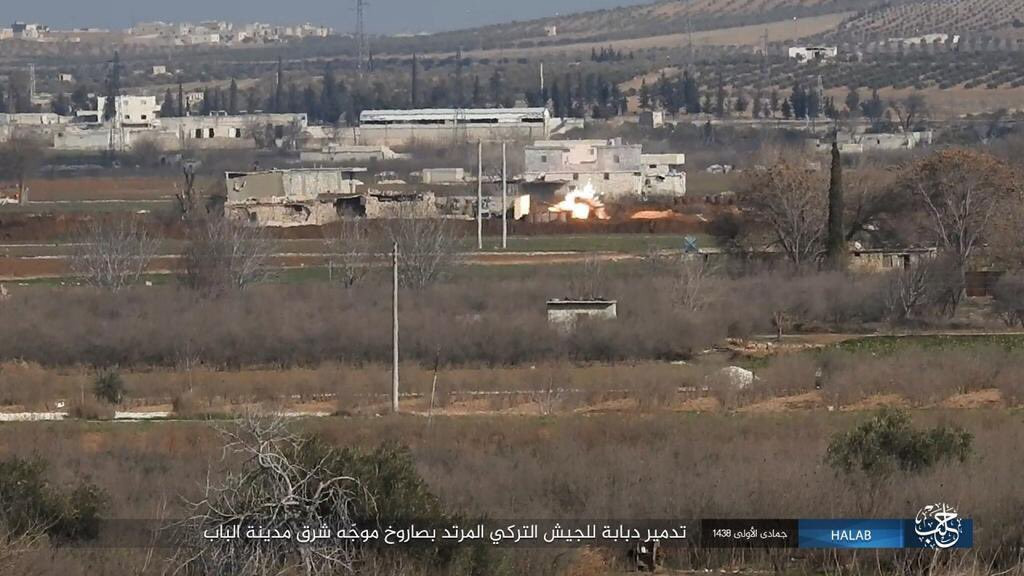 ISIS Claims Destroying Of Turkish Tank Near Al-Bab - Photos