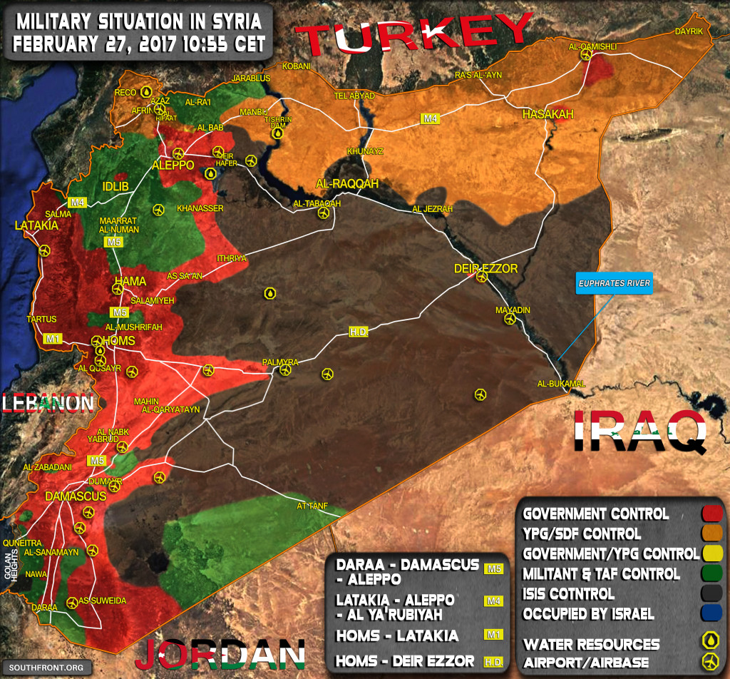 Military Situation In Syria On February 27, 2017 (Map Update)
