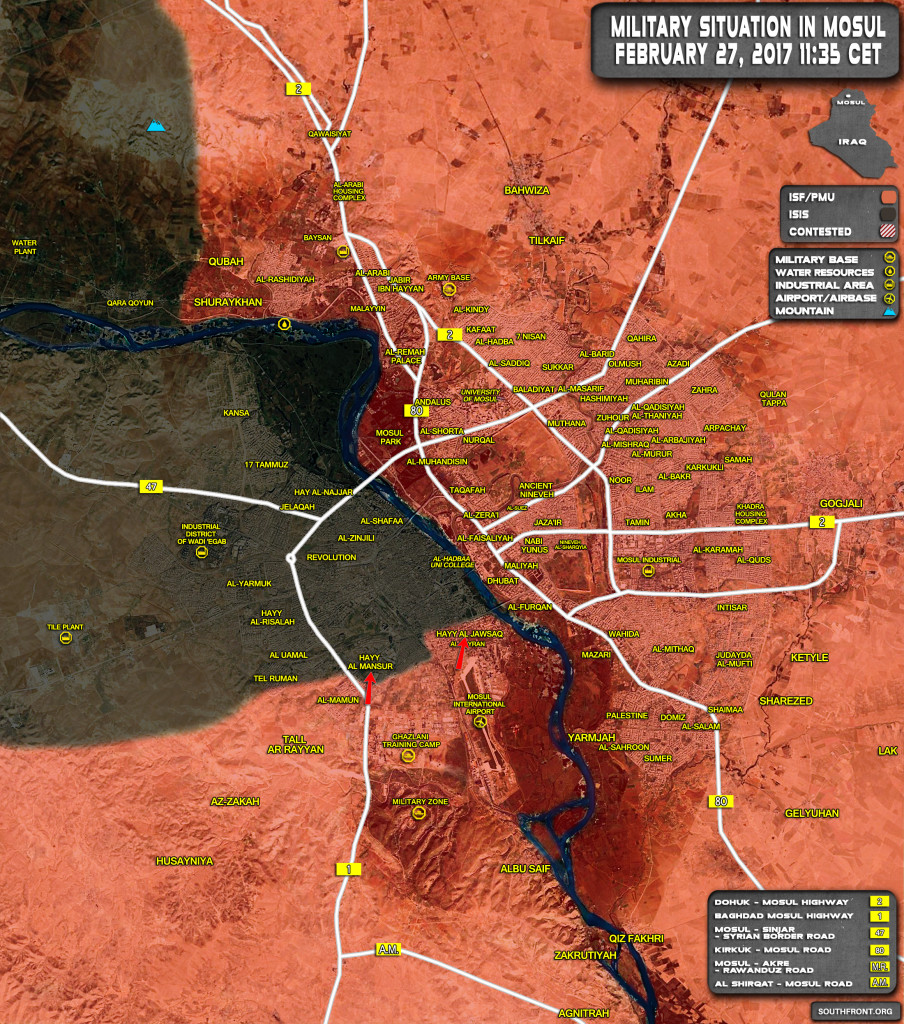 Iraqi Forces Recapture Jawsaq District From ISIS Terrorists In Mosul (Map)