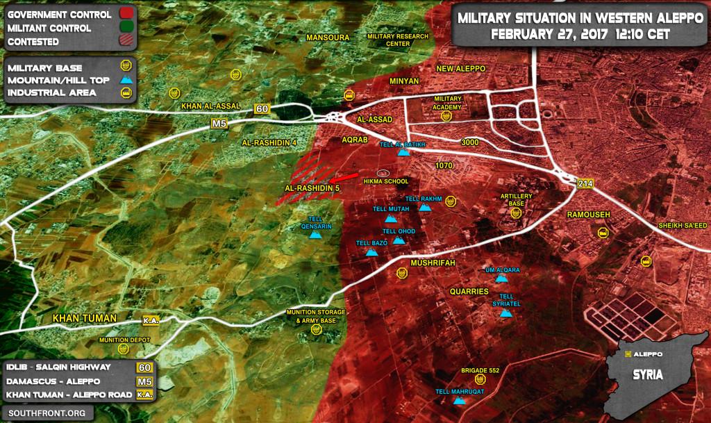 Govt Forces Advancing Inside Rashidin 5 Area In Western Aleppo (Map)