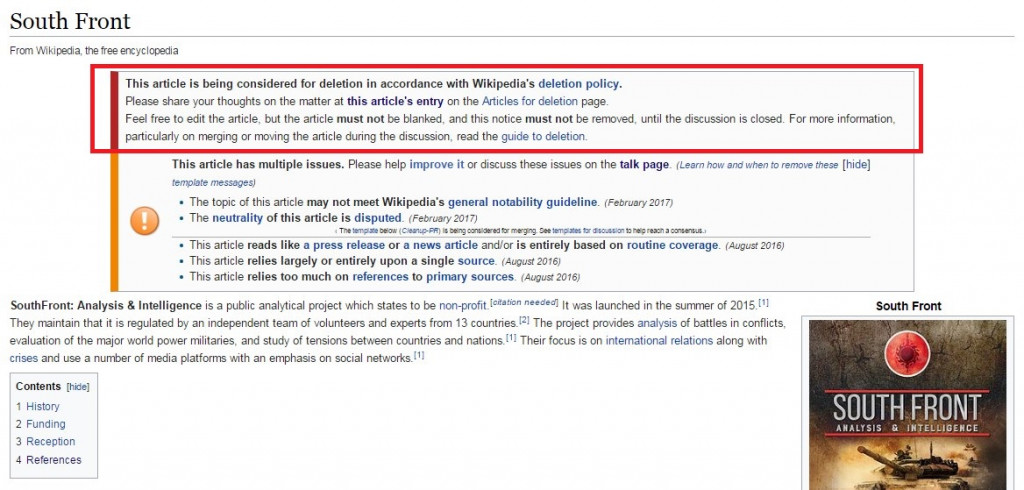 New Facts About Attack Against SouthFront At Wikipedia