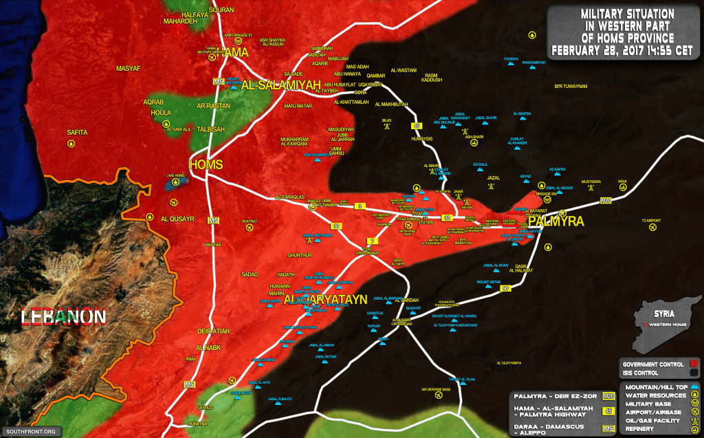 Military Situation In Area Of Palmyra On February 28, 2017 (Syria Map Update)
