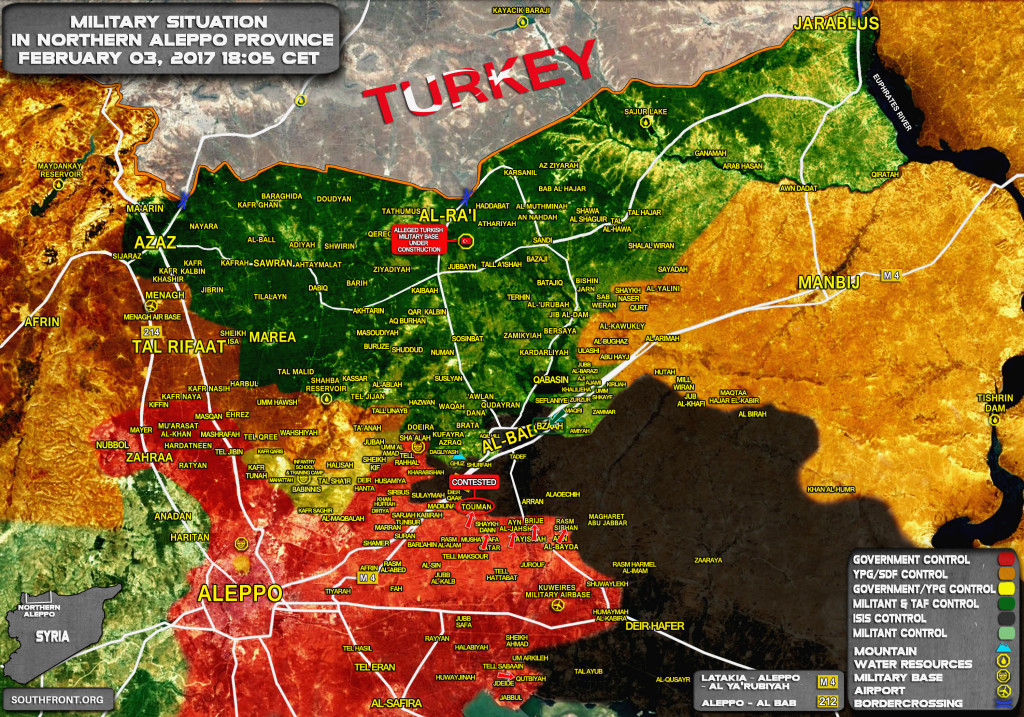 Turkish Forces Advancing On Bzaah East Of Al-Bab (Map)