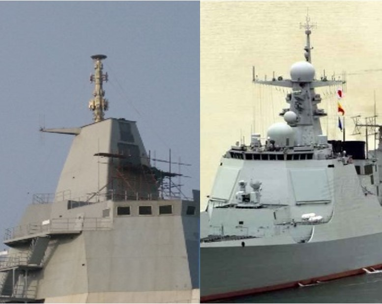A comparison of the integrated mast structures of the Type 055 mock-up and the active Type 052D Kunming. Note the location of the forward two active phased array radar panels on the Kunming. The large sloped superstructure facing, just under the starboard side bridge deck portals on the Type 55, will be fitted with a similar APAR panel.
