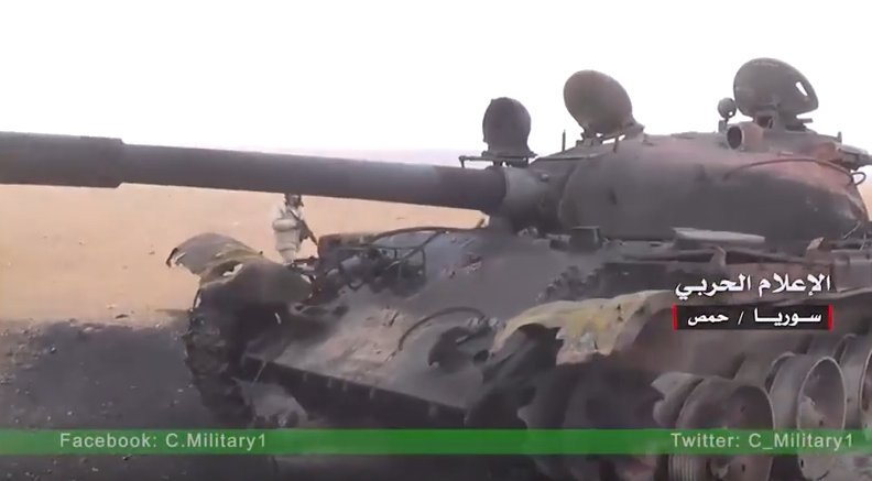 A destroyed T-62 which had been belonging to ISIS, December, 2016. Source: twitter.com/dprkjones