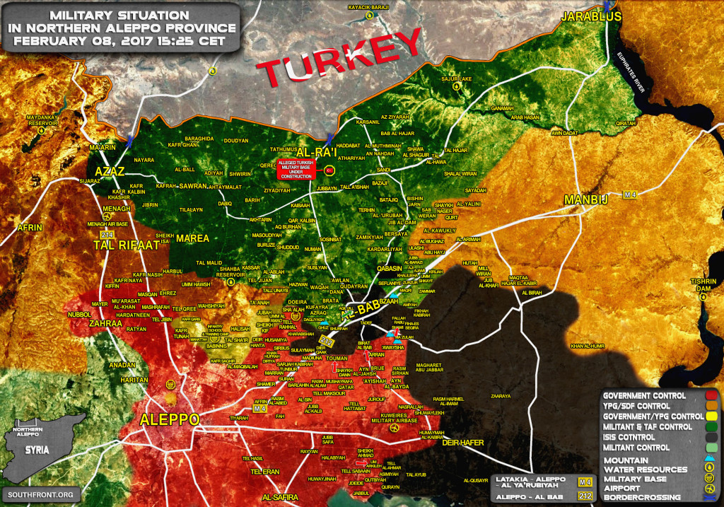 Military Situation In Northern Part Of Aleppo Province On February 8, 2017 (Map Update)