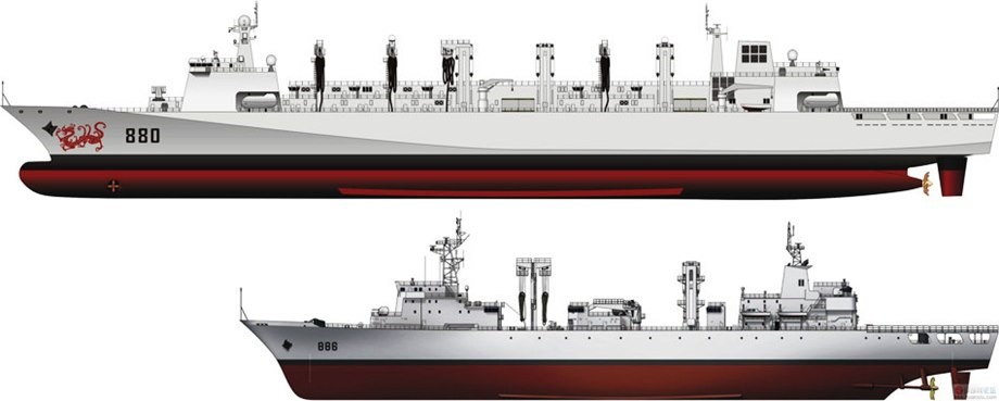 Type 903 fleet replenishment oiler (bottom) and Type 904 dry cargo/general stores support vessels.
