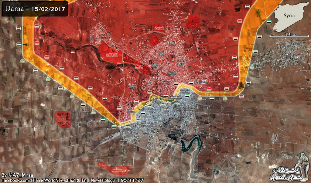 Military Situation In Daraa On February 16, 2017 (Syria Map Update)