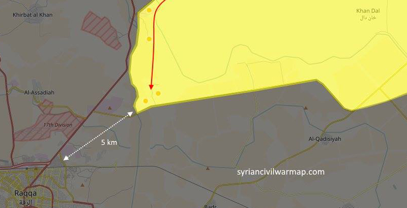 Syrian Kurds Only 5 Km from Raqqa after Rapid Offensive