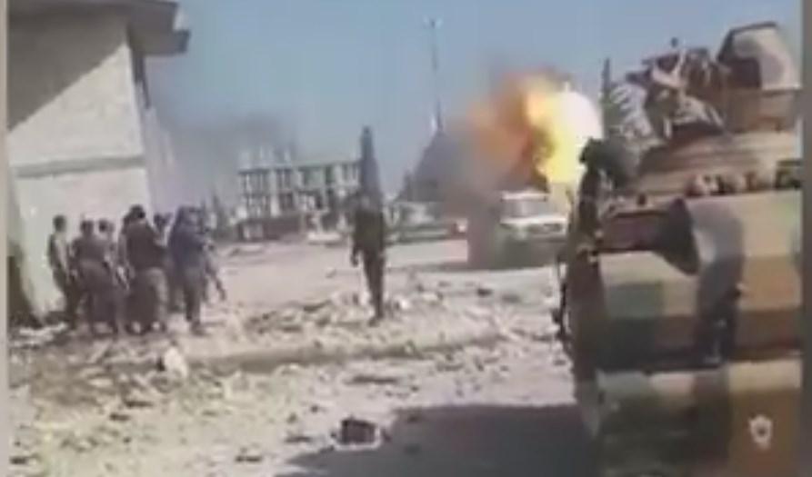 Footage: Air Strike Near Vehicle Belonging To Pro-Turkish Militants During Street Battle In Al-Bab