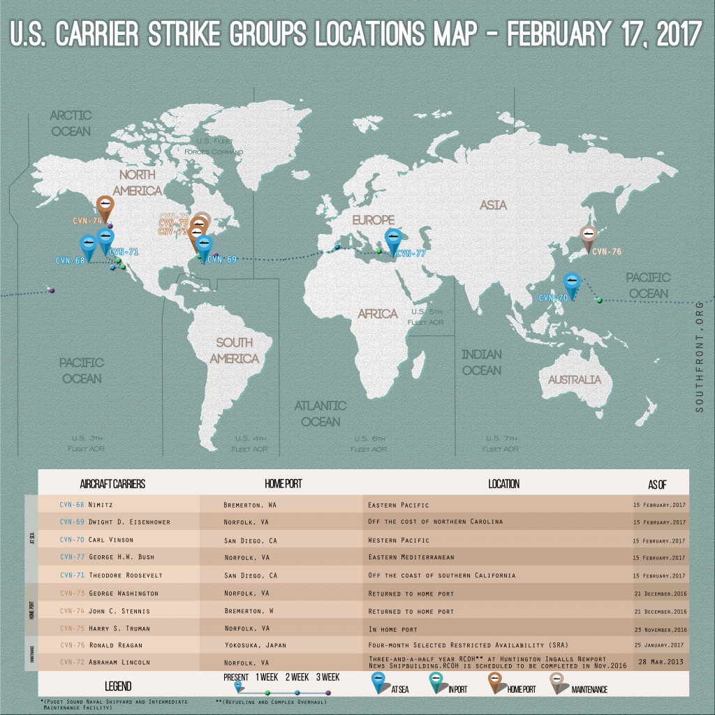 US Carrier Strike Groups Locations Map – February 17, 2017
