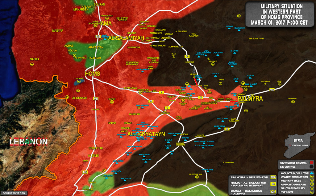 Military Situation In Area Of Palmyra On March 1, 2017 (Syria Map Update)