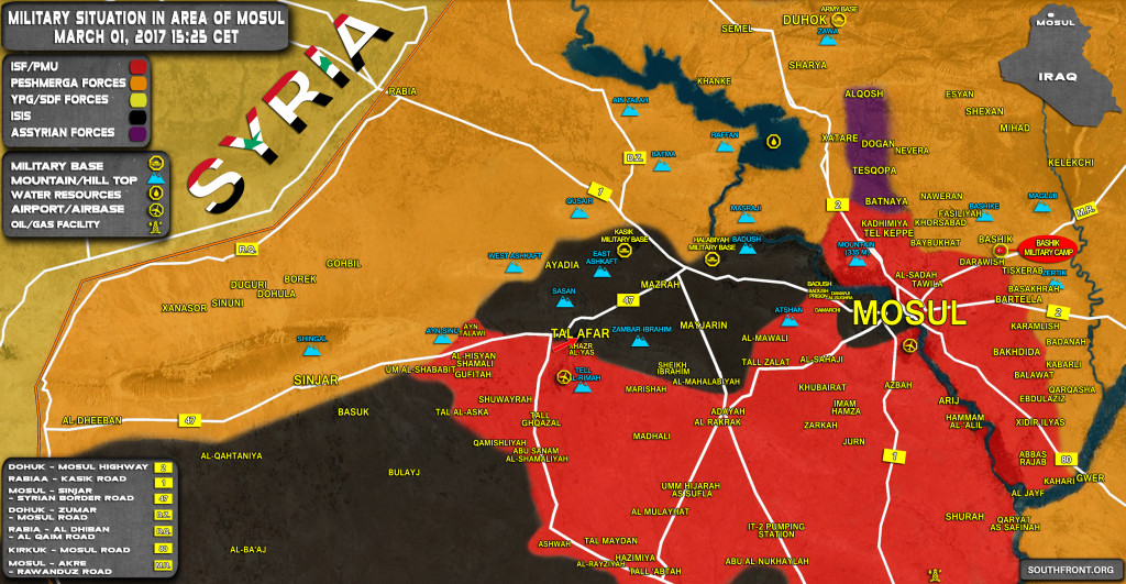 Military Situation In Area Of Mosul On March 1, 2017 (Iraqi Map Update)