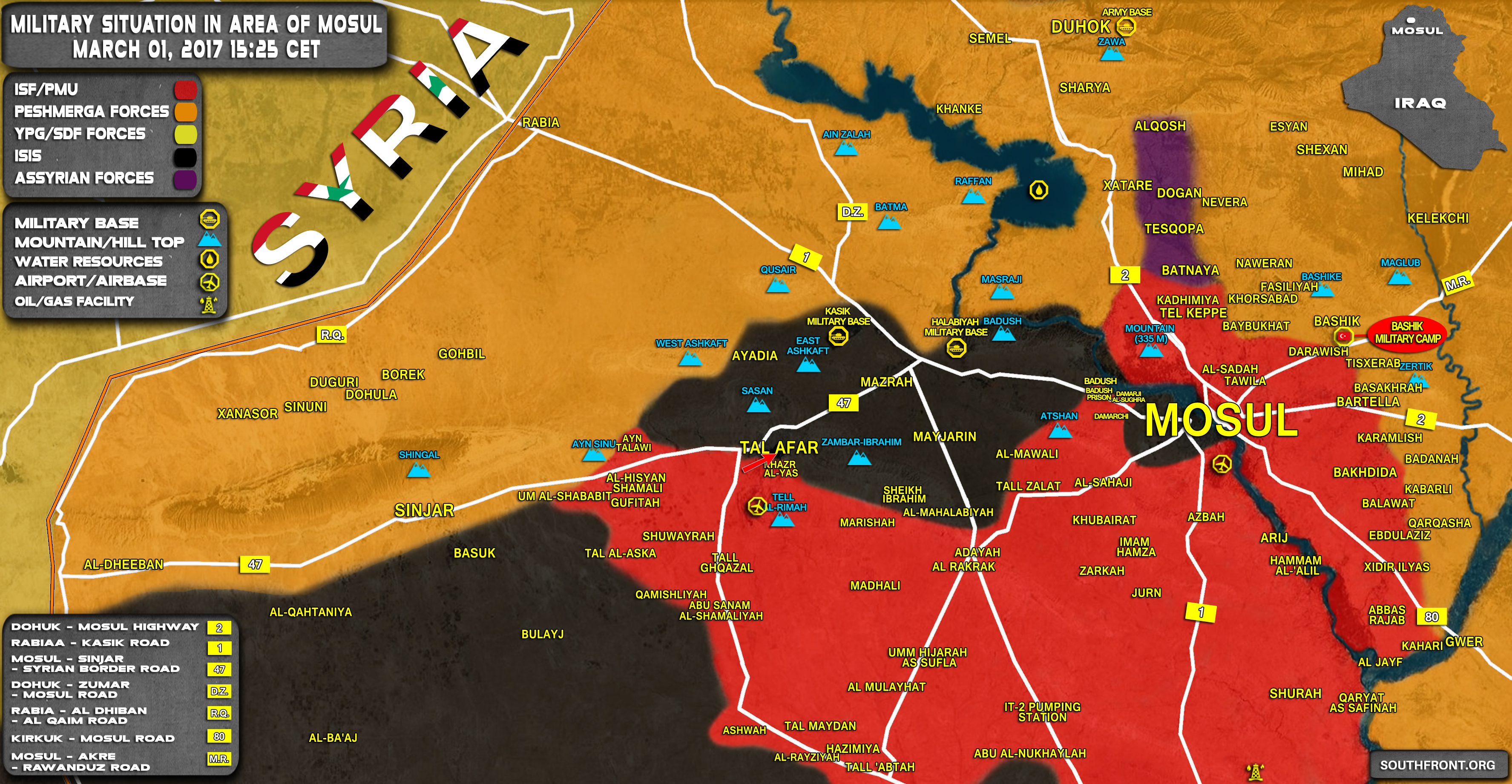 Situation In Area Of Mosul On March Iraqi Map Update - Iraq map