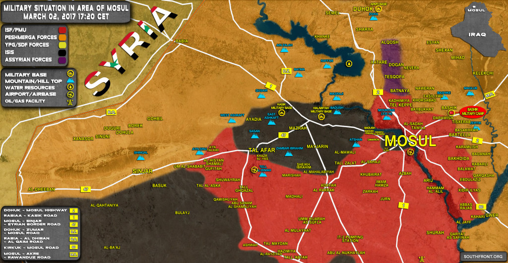 Military Situation In Area Of Mosul On March 2, 2017 (Iraqi Map Update)