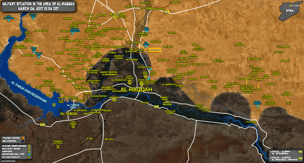 Military Situation In Province Of Raqqah On March 6, 2017 (Syrian Map Update)