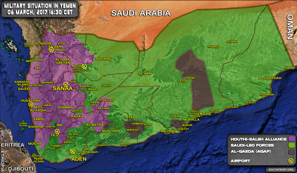 Military Situation In Yemen On March 6, 2017 (Map Update)