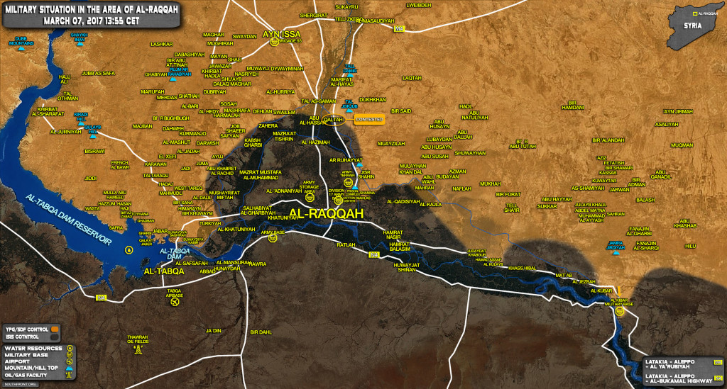 Military Situation In Area Of Al-Raqqah On March 7, 2017 (Map Update)