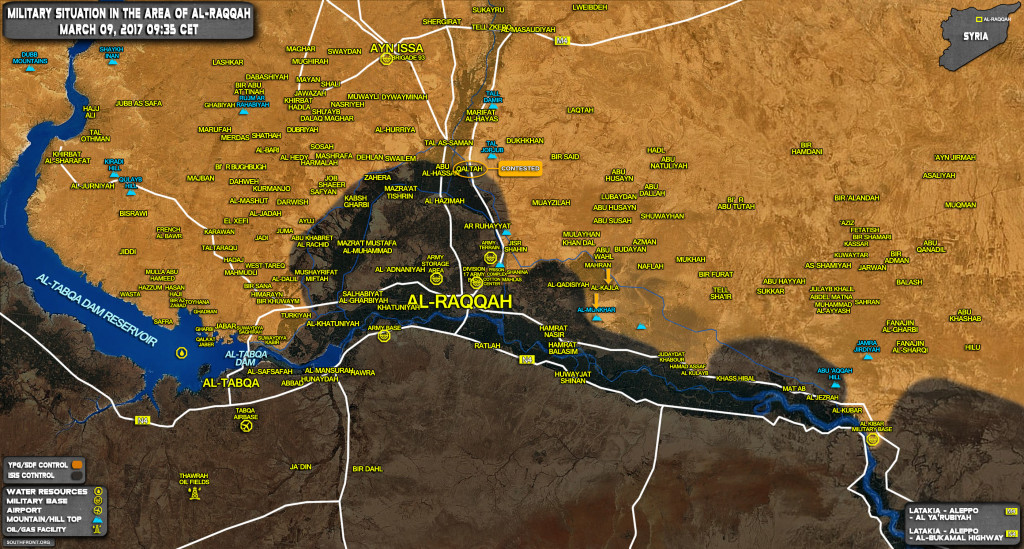 Progress Of US-Backed Forces In Area Of Raqqah (Map Update)