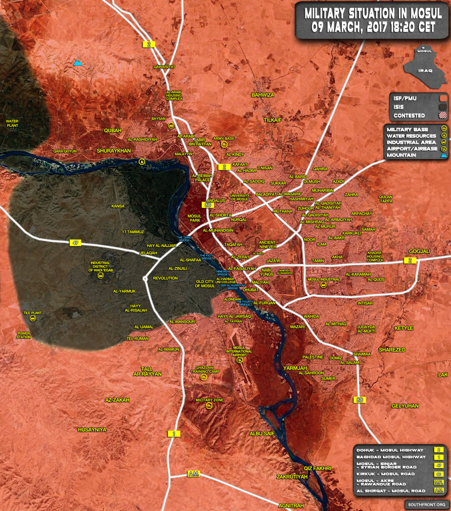 Military Situation In Iraqi City Of Mosul On March 9, 2017 (Map Update)
