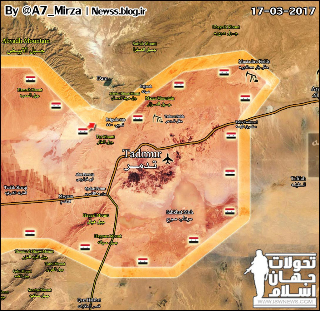 Intense Clashes Between Government Forces And ISIS Terrorists North And East Of Palmyra