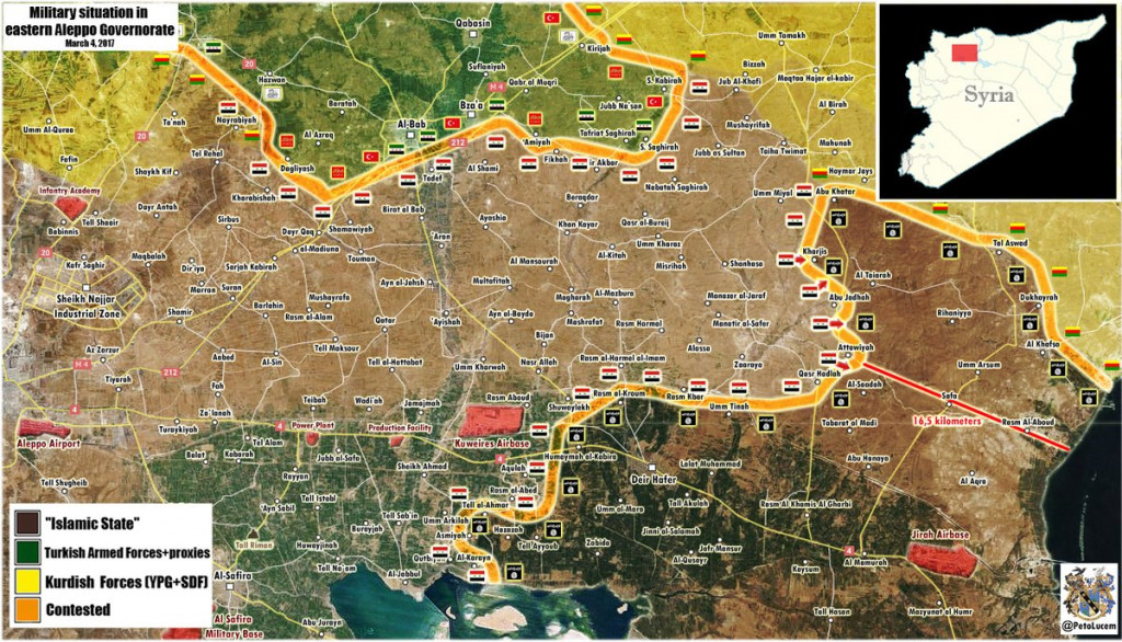 Military Situation In Syrian Province Of Aleppo On March 4, 2017 (Map Update)