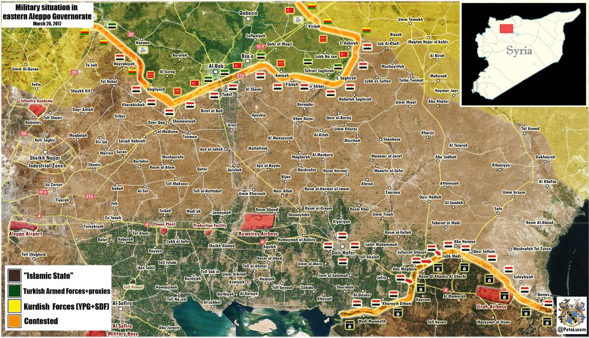 Military Situation In Eastern Part Of Aleppo Province On March 26, 2017 (Syria Map Update)