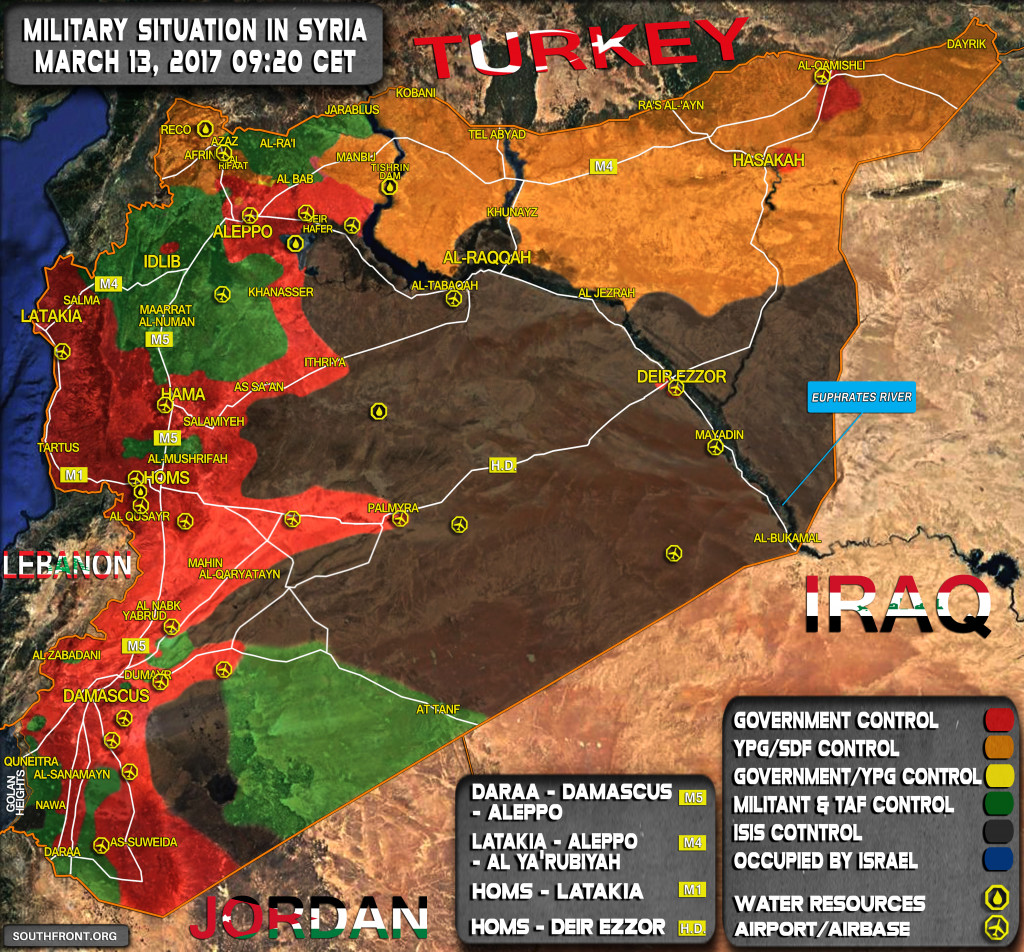 Military Situation In Syria On March 13, 2017 (Map Update)