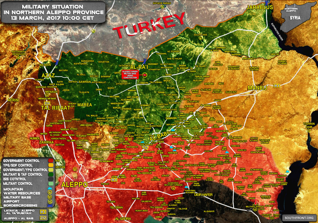 Military Situation In Northern Part Of Aleppo Province On March 13, 2017 (Map Update)
