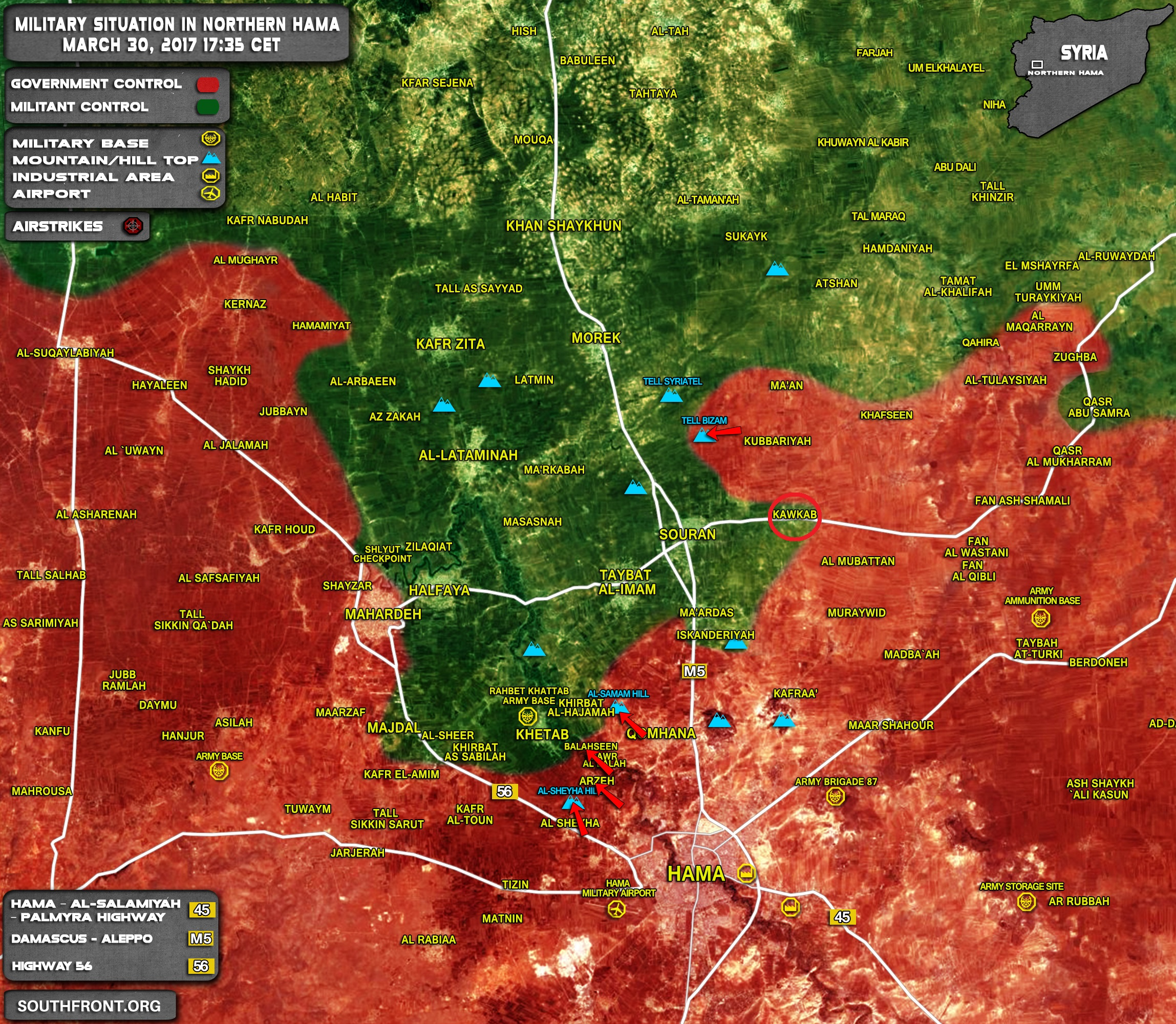 Military Situation In Northern Hama On March 30, 2017 (Syria Map)