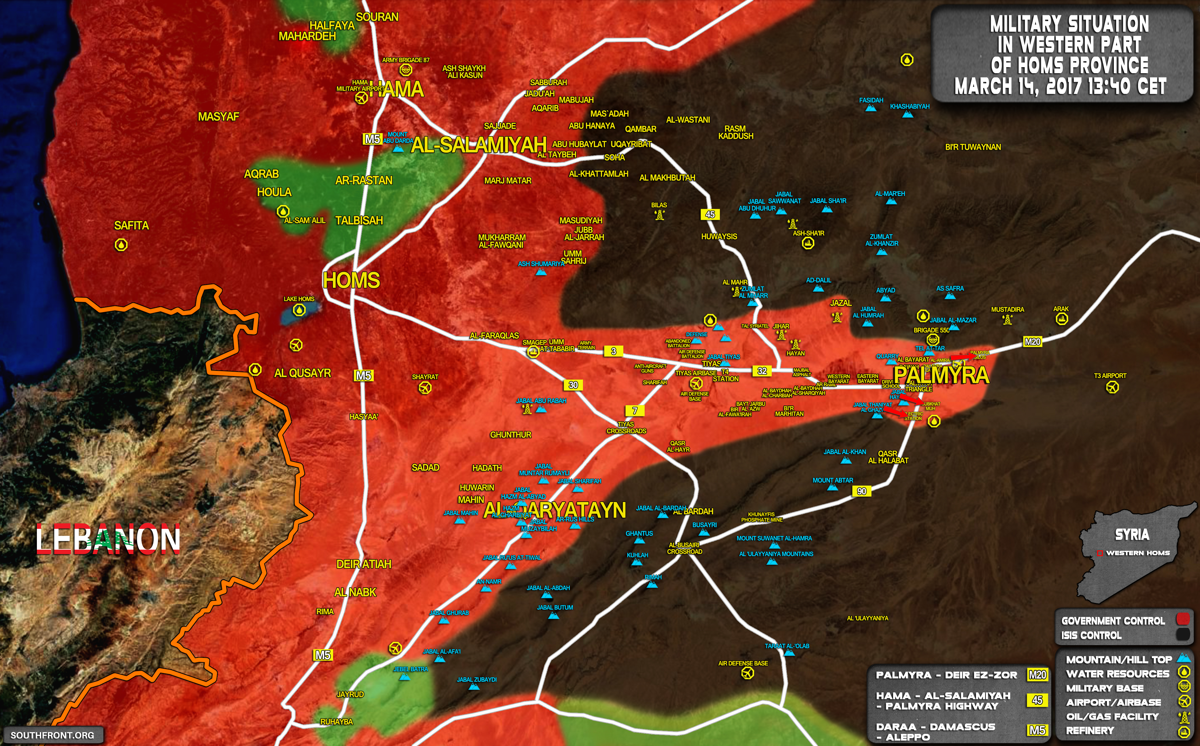 Situation In Homs Province On March 14 2017 Map Update