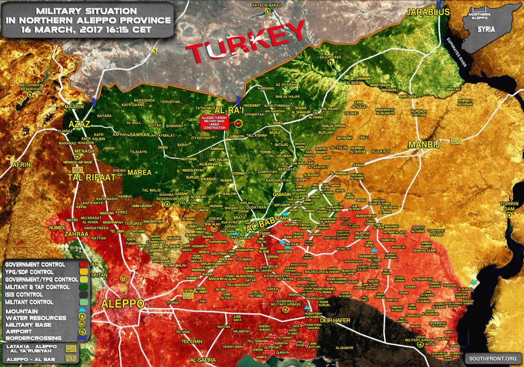 Military Situation In Northern Part Of Aleppo Province On March 16, 2017 (Map Update)
