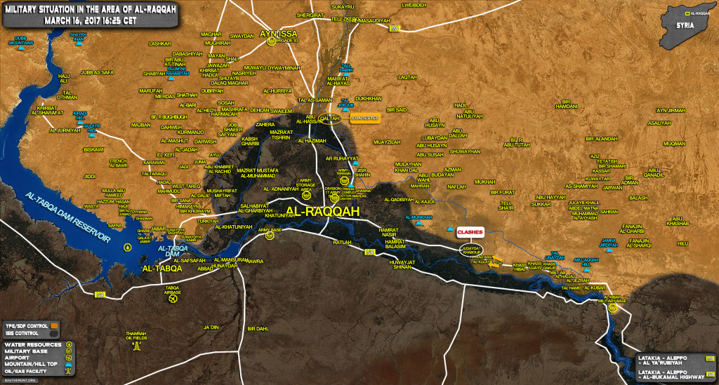 Military Situation In Area Of Raqqah On March 16, 2017 (Map Update)