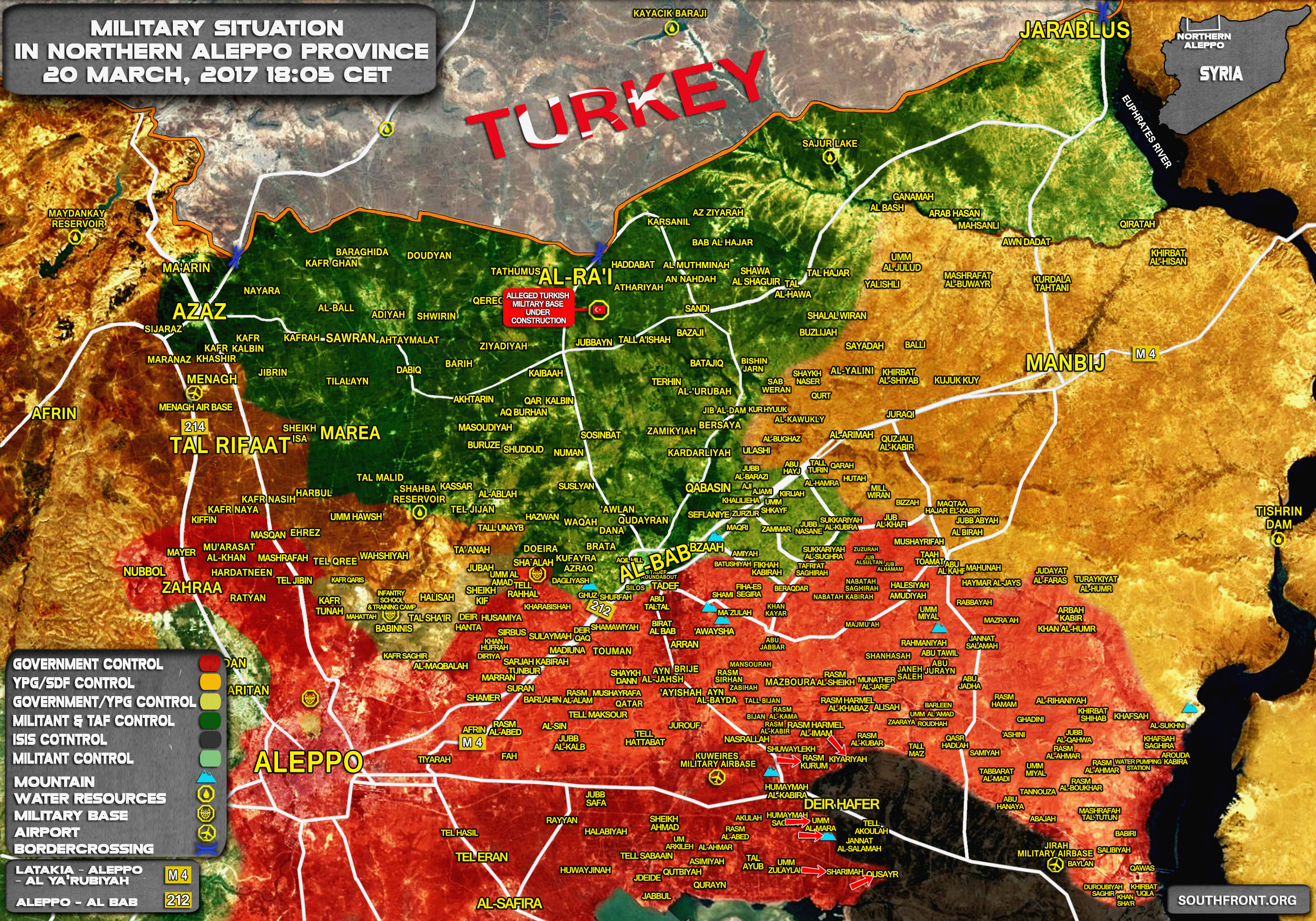 Military Situation In Northern Part Of Aleppo Province On March 20, 2017 (Syrian Map Update)