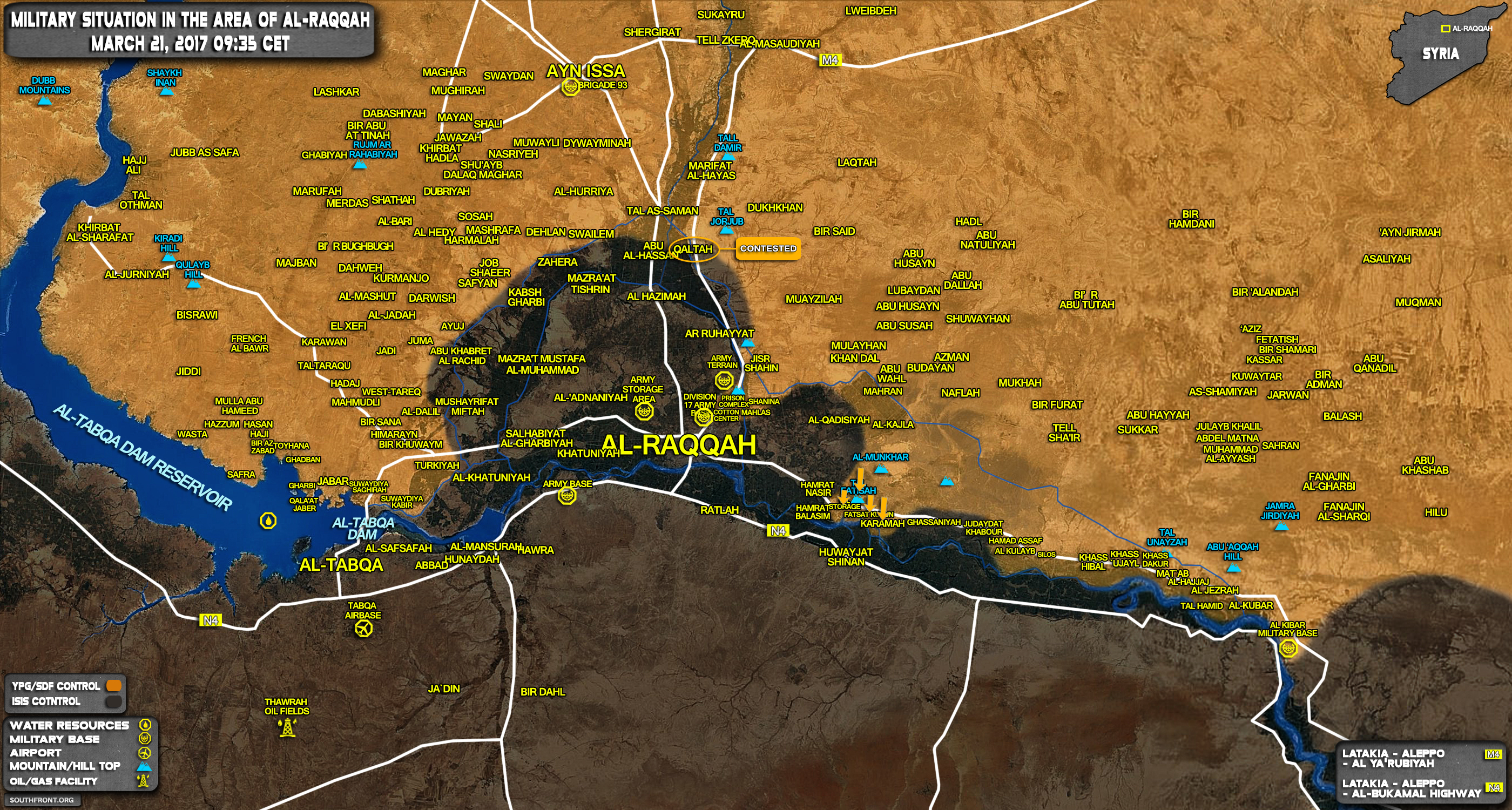 Military Situation In Area Of Raqqah On March 21, 2017 (Syria Map Update)