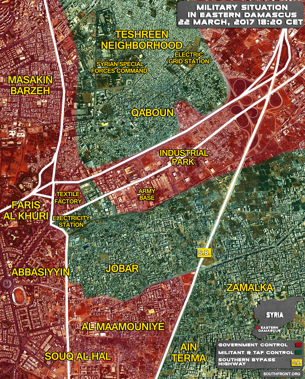 Military Situation In Qabun Industrial Area In Eastern Damascus On March 22, 2017 (Map Update)