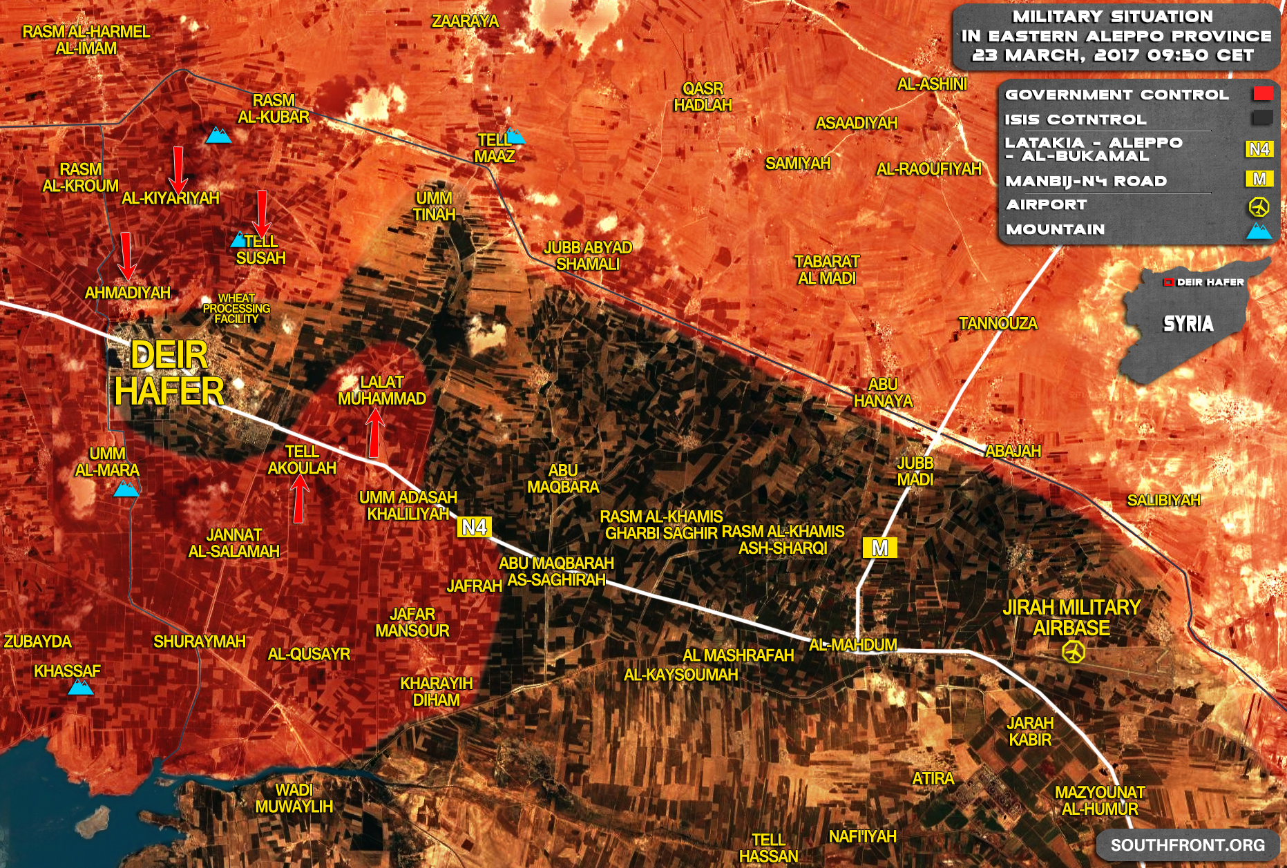 Military Situation In Area Of Deir Hafer In Syrian Province Of Aleppo On March 23, 2017