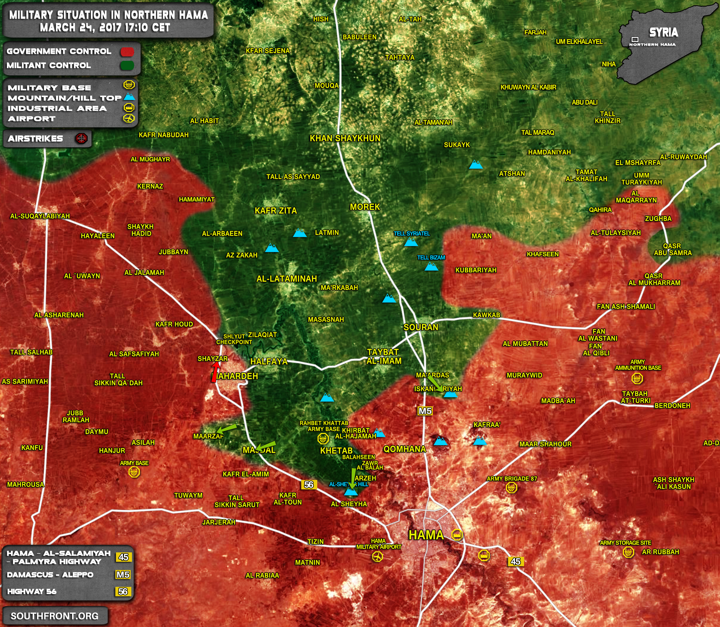 Military Situation In Northern Hama On March 24, 2017 (Map Update)