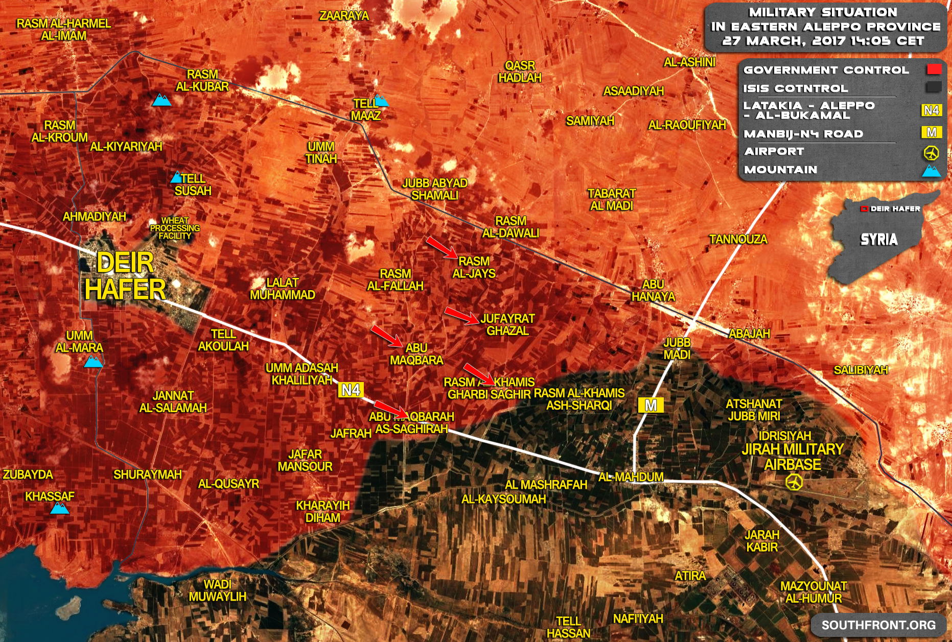 Military Situation In Area Of Deir Hafer On March 27, 2017 (Syria Map Update)