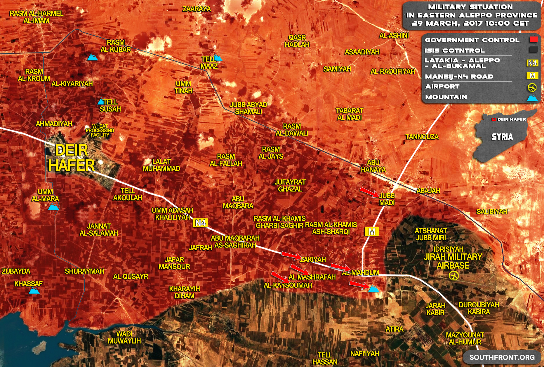 ISIS-Held Jirah Military Air Base In Aleppo To Be Encircled By Syrian Army (Map)
