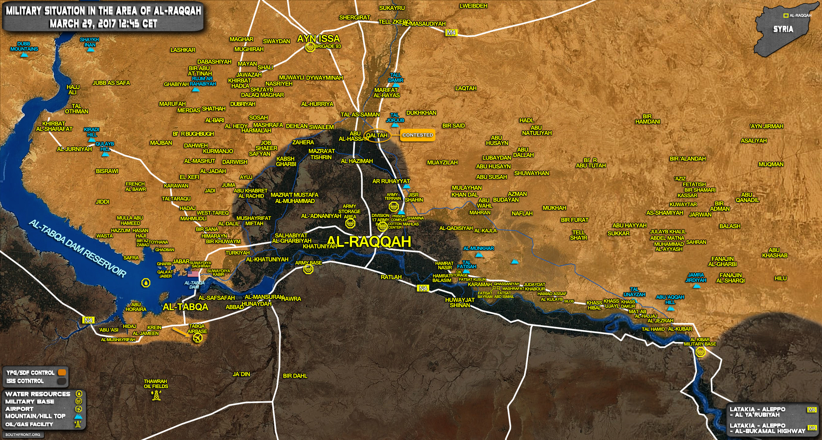 Military Situation In Area Of Raqqah On March 29, 2017 (Syria Map Update)