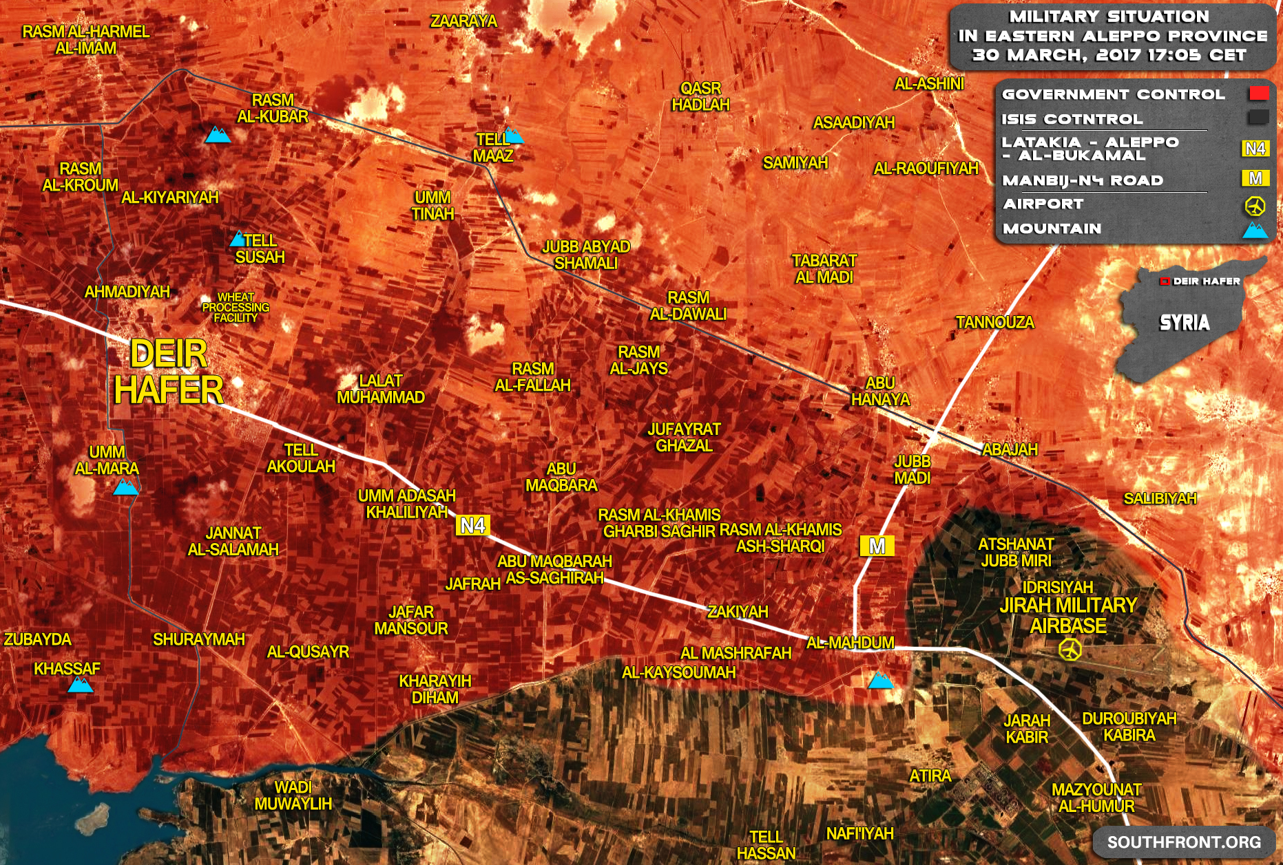 Military Situation In Area Of Deir Hafer In Province Of Aleppo On March 30, 2017 (Syria Map)