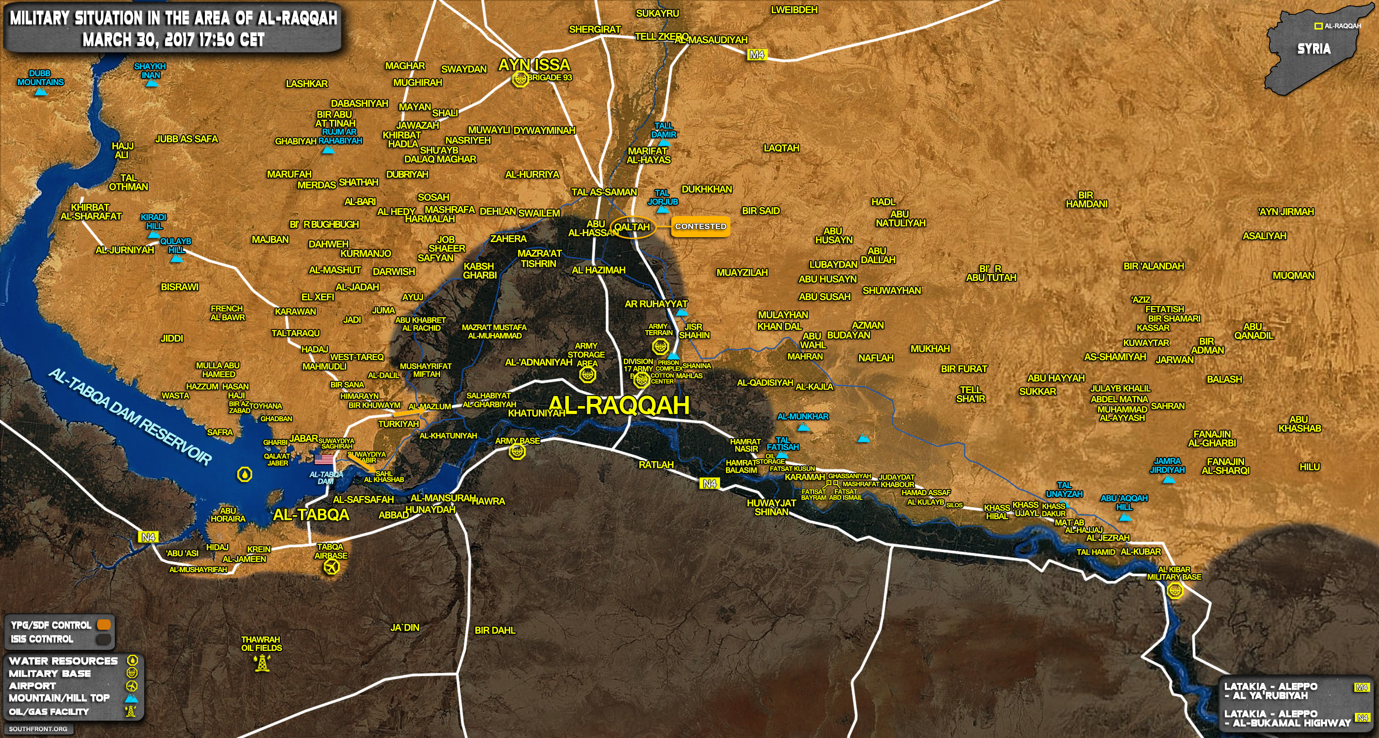 Military Situation In Area Of Raqqah On March 30, 2017 (Syria Map)