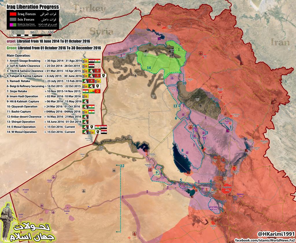 Progress Of Anti-ISIS Campaign In Iraq Oct 1, 2016 - Dec 30, 2016 (Map Update)