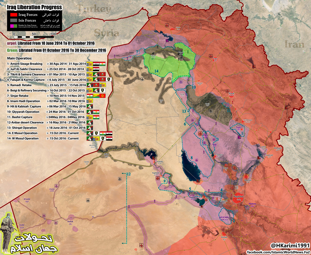 Progress Of Anti-ISIS Campaign In Iraq Oct 1, 2016 - Dec 30, 2016 (Map Update)