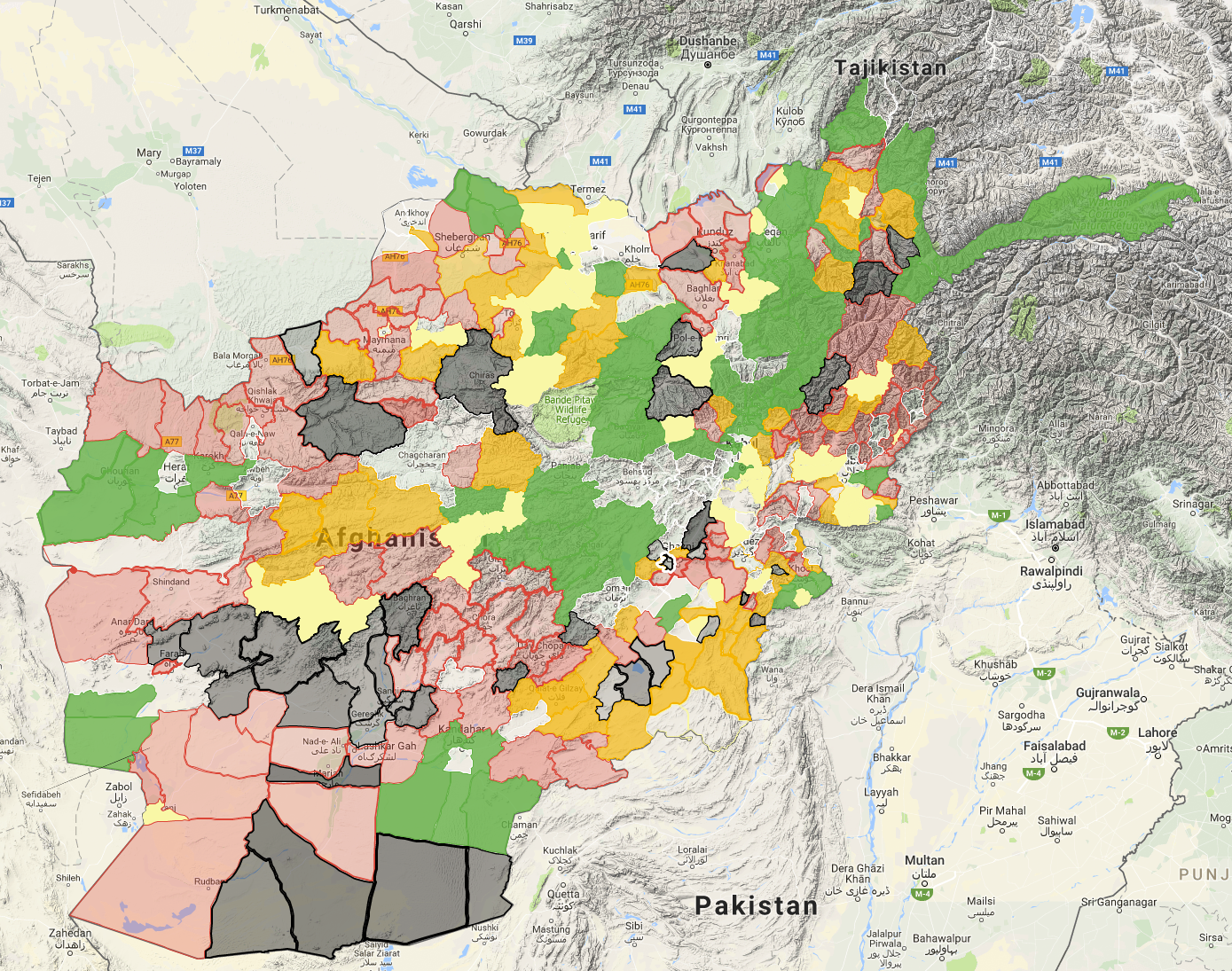 Taliban Releases Map of Territory It Controls in Afghanistan
