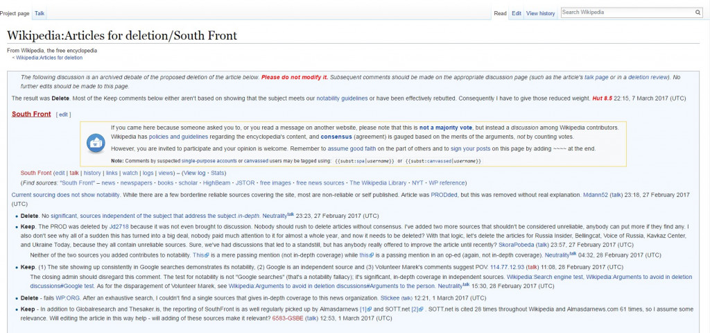 Wikipedia Entry On SouthFront Was Deleted