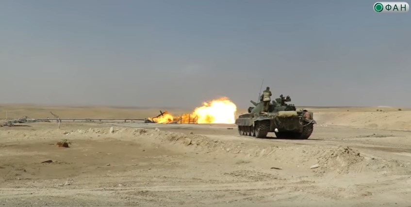 Syrian Troops Extinguish Fire At Hayan Gas Field With Tank Fire (Video)