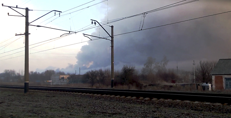 Military Warehouse on Fire, Ammunition Exploding in Kharkov Region of Ukraine (Video)