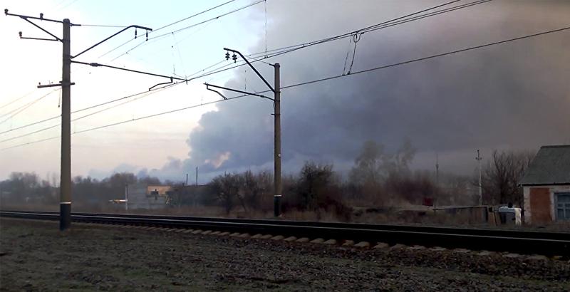 Military Warehouse on Fire, Ammunition Exploding in Kharkov Region of Ukraine (Video)